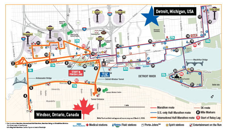 Detroit Marathon Course Map 2016